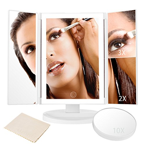 LED Lighted Makeup Mirror, Trifold Vanity Mirror with Full-rim Light Band 10X 3X 2X 1X Magnification and Light Control Touch Screen, 180 Degree Free Rotation Countertop Cosmetic Makeup - Rims Full