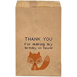 "Thank You For Making My Birthday So Special - Fox Birthday Themed Favor Bag - Candy Bar – Treat Table – Candy Buffet - 6.25"" x 9.25"" Brown Kraft Bags – (20 pack)"