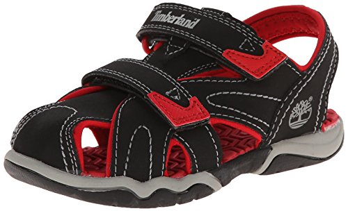 (Timberland Adventure Seeker Closed Toe T Dress Sandal (Toddler/Little Kid),Black/Red,12 M US Little Kid)