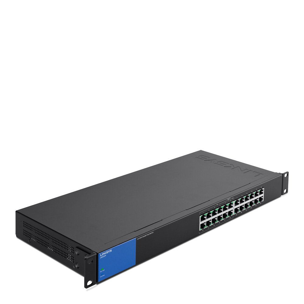 Linksys Business LGS124P 24-Port Rackmount Gigabit Ethernet PoE+ Unmanaged Network Switch I Metal Enclosure