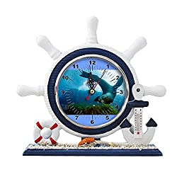 GIRLSIGHT1 Desk/Table Decor Mediterranean Nautical Ship Clocks Living Room Clocks Decoration Blue Sailboat Ornaments-252.Ocean Animal Encyclopedia Oceana