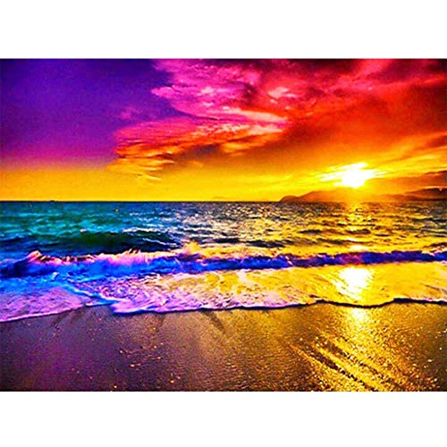 - CANDYL DIY Oil Painting Paint by Number Kit for Kids Adults Students Beginner DIY Canvas Painting by Numbers Acrylic Oil Painting Arts Craft for Home Wall Decoration Sunset Beach 16x20 Inch