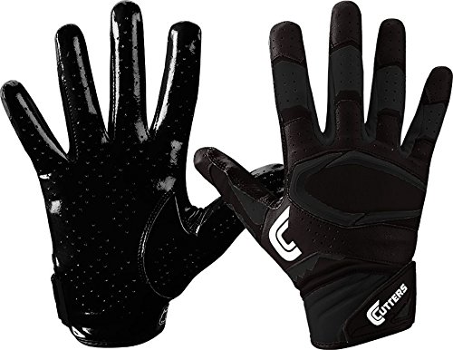 Cutters Gloves S451 Rev Pro 2.0 Receiver Football Gloves with Sticky C-Tack Grip, SOLID BLACK, Adult M (Football Receiver Gloves Wide)