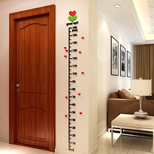 Euone Baby Kid Room Deco Height Ruler Measure Chart DIY 3D Acrylic Crystal Wall Stickers