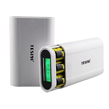 tesiyi T3 LCD Batería externa Power Bank 18650 Cargador de batería Caja con 2 puertos 5