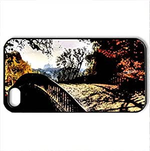 Beautiful Autumn - Case Cover for iPhone 4 and 4s (Bridges Series, Watercolor style, Black) by icecream design