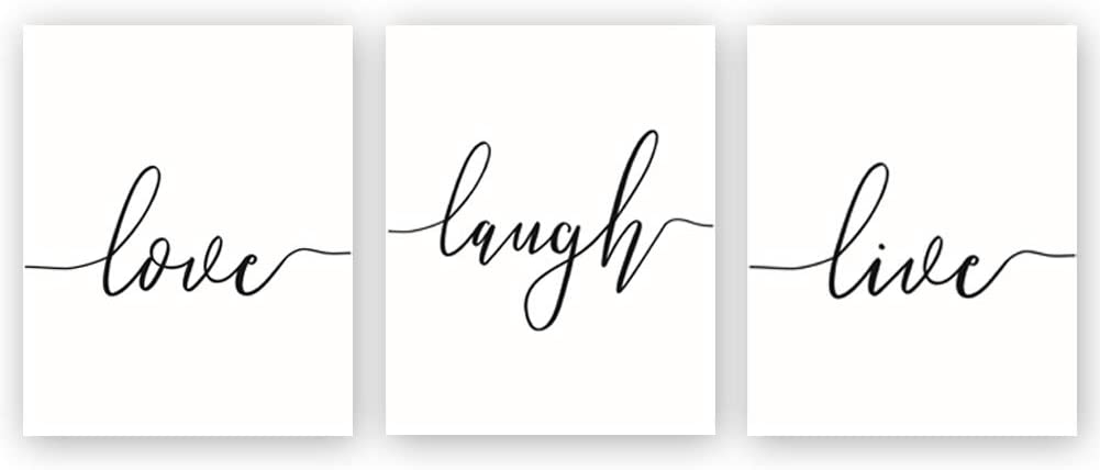 Love Live Laugh Quote Wall Art Modern Saying Art Print Black and White Motivational Word Art Poster,Set of 3(8