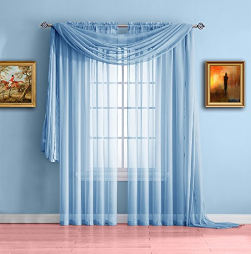 Warm Home Designs Pair of Standard Length Baby Blue Sheer Wi