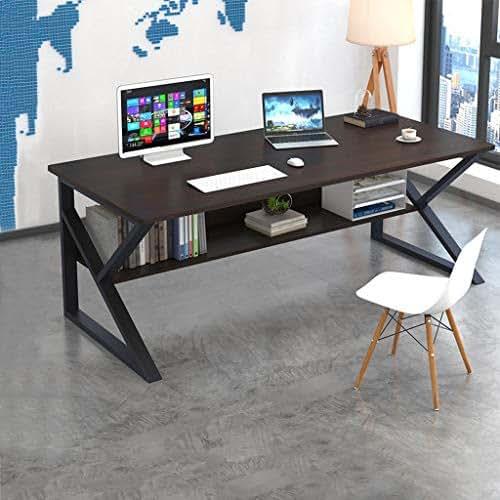 Home Office Desk Computer Gaming Desk PC Table,Simple Home Desk Student Writing Desktop Desk Modern Economic Desk Wood & Metal Table (Black)