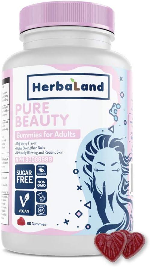 Vegan Pure Beauty Supplement by Herbaland - Plant-Based Sugar-Free Vitamin Gummies for Hair Skin and Nails with Biotin Folic Acid Zinc Fo-Ti and Vitamin B12 - Goji Berry Flavor 60 Gummies