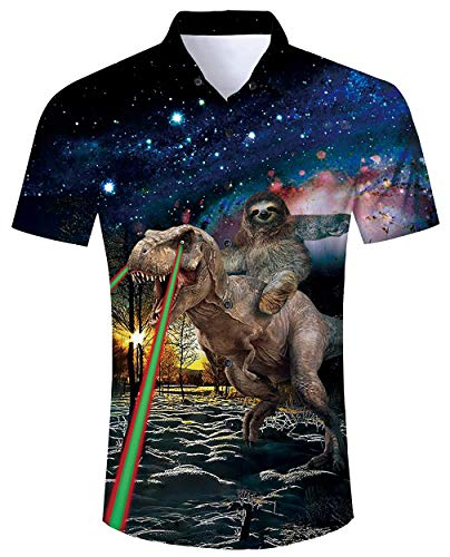 (Mens Hawaiian Shirt Brown Sloth Khaki Dinosaur Galaxy Universe Funny Hot Printed Tropical Retro Cute Short Sleeve Shirts Casual Aloha Botton Down Hawaiian Vacation wear Outfits Clothes XL)