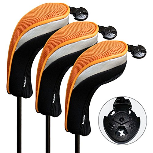 (Andux 3 Pack Golf Hybrid Club Head Covers Interchangeable No. Tag Mt/hy07 Black &Orange)