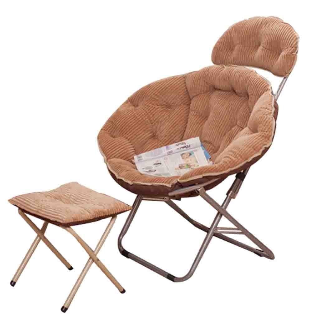 Klapptisch YH Tragbarer Gepolsterter Moon Chair Freizeit-Campingstuhl Ohne Bechergestell Aus Stahl A+ (Farbe : Khaki)