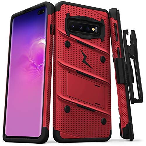 Zizo Bolt Series Compatible with Galaxy S10 Plus Case Military Grade Drop Tested with Built in Kickstand Holster Red Black