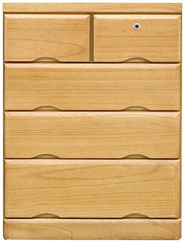 【鍵付きタンス】桐の木製チェスト(色2色) サイズ4種類、4段5段 (ナチュラル, 5段、幅793mm) B07DHM5G1K 5段、幅793mm|ナチュラル ナチュラル 5段、幅793mm