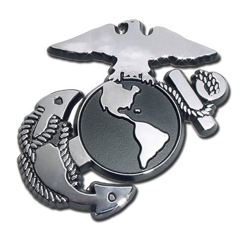 Chrome Truck Emblems - USMC Marine Corps EGA Eagle Globe Anchor Chrome Plated Premium Metal Car Truck Motorcycle Emblem