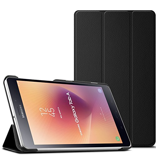 Infiland Samsung Galaxy Tab A 8.0 2017 Case- Tri-Fold Ultra Slim Stand Smart Case Cover with Auto Wake/ Sleep for Samsung Galaxy Tab A 8.0 SM-T385 / T380 Tablet 2017 Release, Black