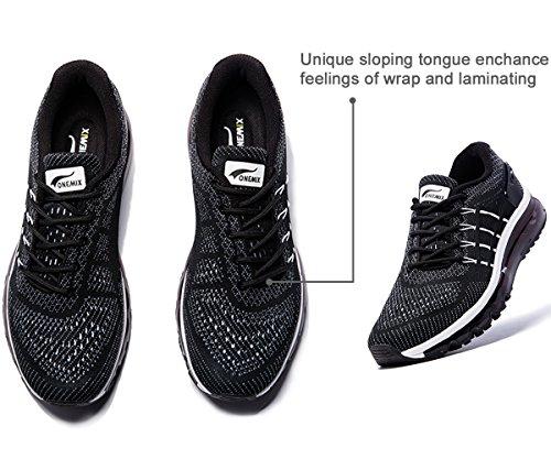 Onemix Air Zapatos para Correr en Montaña y Asfalto Aire Libre y Deportes Zapatillas de Running Padel para Hombre Negro / blanco