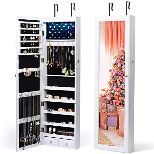Titan Mall Jewelry Organizer 6 LEDs Jewelry Cabinet with Mirror Lockable Wall Door Mounted Jewelry Armoire Organizer with Full Length Mirror (White)