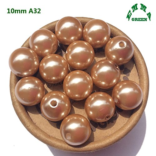 EmmaGreen Imitation Pearls 6mm - 30mm Light Brown A32 Tiny Size Loose Pearl Bead Beads for Jewelry Making Or Vase Fillers (10mm 100pcs) (Brown Imitation Pearl)