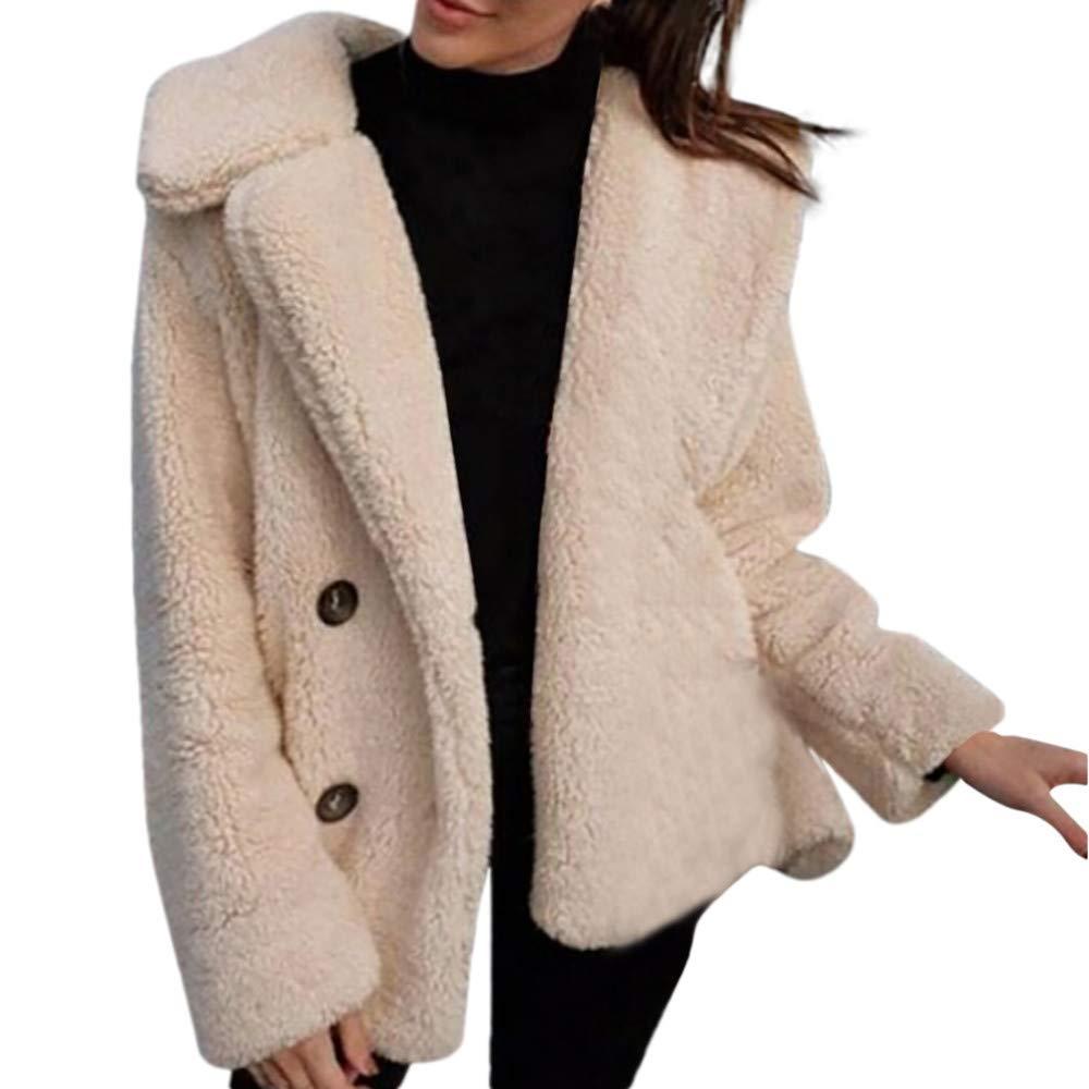 Ulanda Winter Coat Womens Fleece Open Front Coat with Pockets Casual Warm Parka Jacket Solid Outerwear Coat