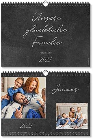 Fotokalender Wandkalender 2021 individuell mit Ihren eigenen 12 Fotos DIN A4 297x210 mm quer - Schiefer Look