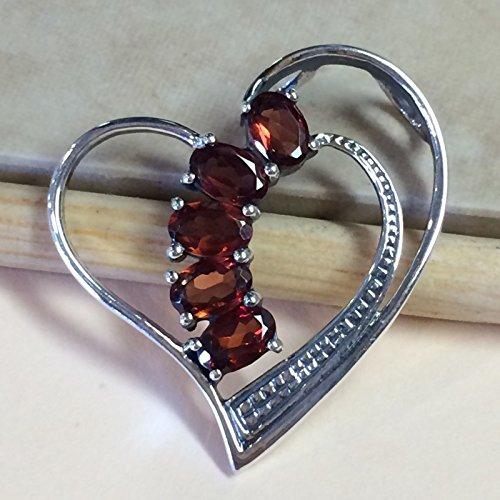 Natural 3.5ct Pyrope Garnet 925 Sterling Silver Designer Heart Pendant 32mm
