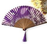 Purple Bamboo Butterflies Sakura Folding Hand Fan Wedding Bridal Decoration Event & Party Supplies Home Decor Dance Fans