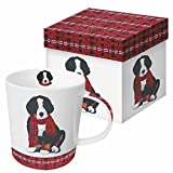Paperproducts Design Gift Boxed Porcelain Mug, 13.5 oz, Plaid Noah, Multicolor