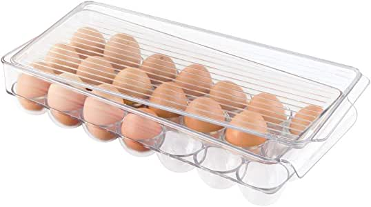 "iDesign Fridge Binz BPA-Free Plastic Stackable Egg Holder - 14.57"" x 6.25"" x 3"", Clear/White"