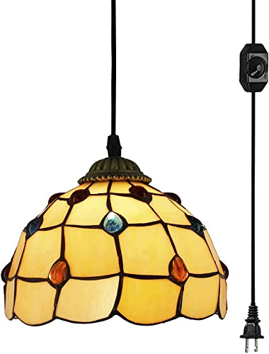 Swag Plug-in Tiffany Chandelier Handmade Glass Shade Pendant Lamp 15ft UL Black Cord with On Off Dimmable Switch Bulb Not Included Portable