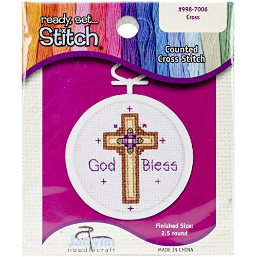 Janlynn 18 Count Oval Mini Counted Cross Stitch Kit, 2-1/2-Inch, (Mini Counted Cross Stitch)