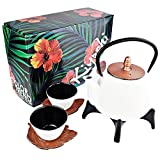 KIYOSHI Luxury Japanese Iron Tea Set 7 Pieces - White and Red Gold color - NEW COLLECTION 2019 - Teapot (33,8Oz) + Filter + 2 Large Iron Cups (4.05Oz) + 2 Iron Leaf Saucers + Trivet - 100% Hand Made