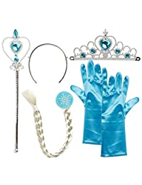 Princess Elsa, Cinderella costume accessoires 4pcs of tiara, gloves, magical wand, wig