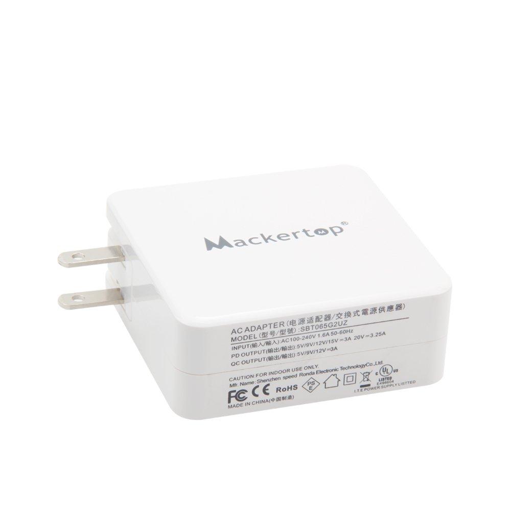 Mackertop 65W USB C Type C Charger Adapter Compatible with MacBook Pro 13.3 Inch,Lenovo Yoga 920 920-13IKB, Lenovo Yoga 730 730-13I, Yoga 910, Yoga ...