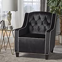 Gianna Two Tone Tufted New Velvet Club Chair (Black with Pearl Accent)