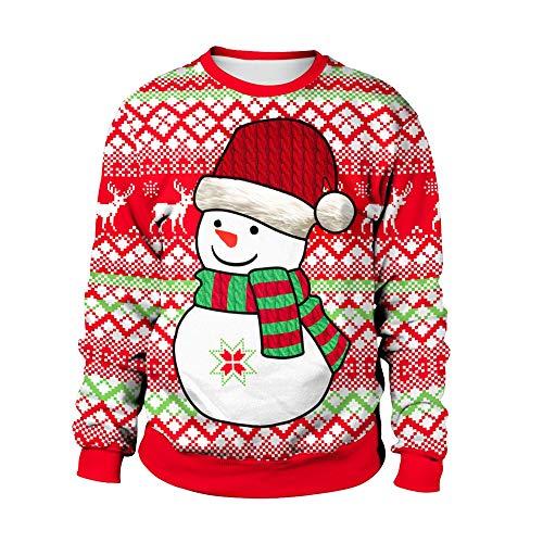 Mujer Muñeco De Nieve De Navidad Sudadera, Redondo Suéter para Damas Navidad Regalo Sudaderas Camisetas De Manga Larga 3D