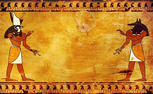 Leowefowa 5X3FT Ancient Egyptian Backdrop Anubis and Horus Egyptian Frescoes Shabby Texture Graffiti Abstract Wallpaper Vinyl Photography Background Kids Baby Photo Studio Props]()