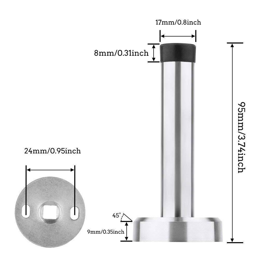 TPOHH 3-3//4 Height Brushed Stainless Steel Cylindrical Wall Mount Door Stop
