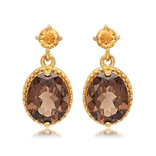 rling Silver Smokey Quartz and Citrine Dangle Earrings (Gold Smokey Quartz Dangle)