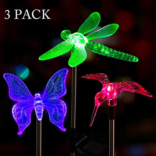 - Solpex Solar Garden Lights Outdoor - 3 Pack Solar Stake Lights Multi-Color Changing LED Garden Lights, Premium Butterfly,Dragonfly and Bird Decorative Lights for Path, Yard, Lawn, Patio.