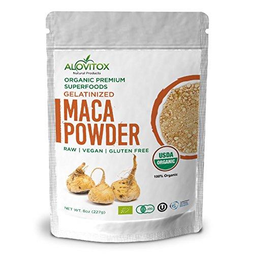 Spring Royal Water - Alovitox Certified Organic Pure Maca Powder Gelatinized Highest Quality Gluten Free Vegan Superfood 8oz Pouch