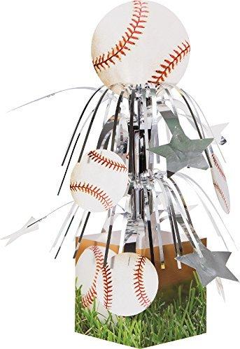 Creative Converting Sports Fanatic Baseball Centerpiece with Mini Cascade and Base, White (Baseball Theme Base)