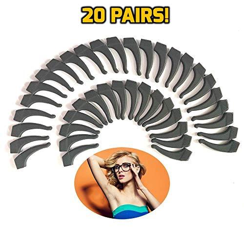 Keepons Superstretch Black Prevent Eyeglass Slipping Anti Slip Anti Slide Eyewear Sunglasses Spectacle Glasses Temple Tip Sports Ear Hook Sleeve Retainer (20 Pairs)