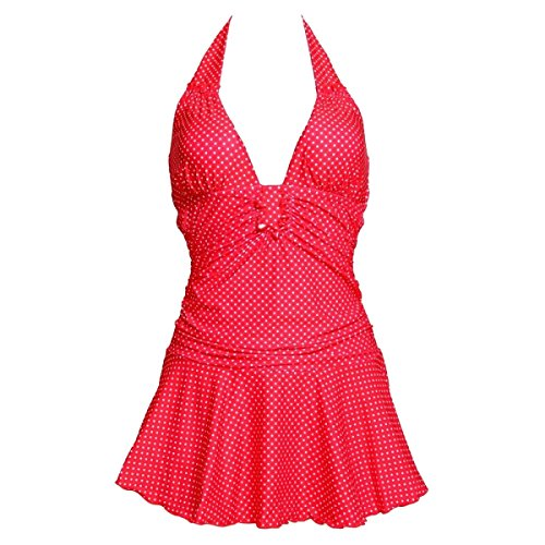 KUWOMINI.Swimsuit Chica Ola Punto Lindo Bikini Unidos Estilo Falda Grande Conservadora Mujer Traje De Baño Red
