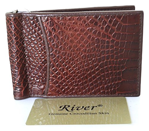 (Exotic_leather Authentic Belly Genuine Crocodile Leather Money Clip Wallet Shiny Cognac Brown New River)