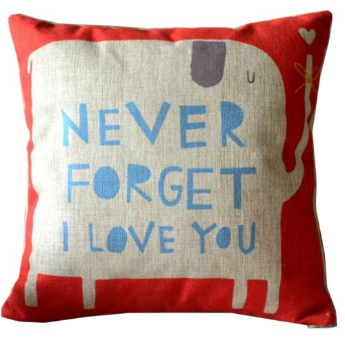 CoolDream Animal Style Lovely Cartoon Red Elephant Pass Love Letters Sofa Simple Home Decor Design Throw Pillow Case Decor Cushion Covers Square 18*18 Inch Beige Cotton Blend Linen