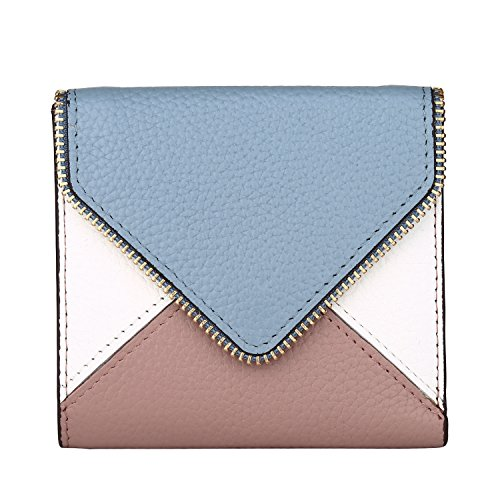Lavemi RFID Blocking Small Compact Mini Bifold Credit Card Holder Leather Pocket Wallets for Women(Envelope Light Blue)