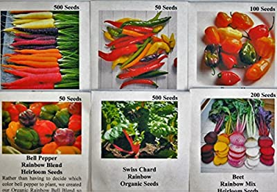 David's Garden Seeds Rainbow Seed Collection GH9123 A Kaleidoscope of Colors 6 Varieties 1200 Plus Seeds (Open Pollinated, Heirloom, Organic)