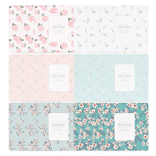 Monolike Paper Photo Frames PHOTOMOUNT Floral Pattern Mix 18 Pack - Fits Mini Polaroid Size